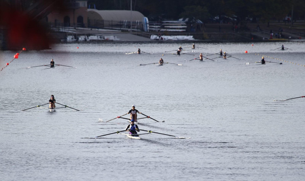 Women's 1x's on Saturday morning at Head of the Schuylkill. Photo courtesy of Michael W. Murphy.